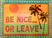 Photo of BE NICE or LEAVE: BEAUTIFUL RICH COLORS ON THIS ENAMEL SIGN
