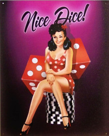 CRAPS SIGN, GIRL SITTING ON PILE OF CHIPS WITH DICE IN BACKGROUND SHARP RICH COLORS GREAT DETAIL