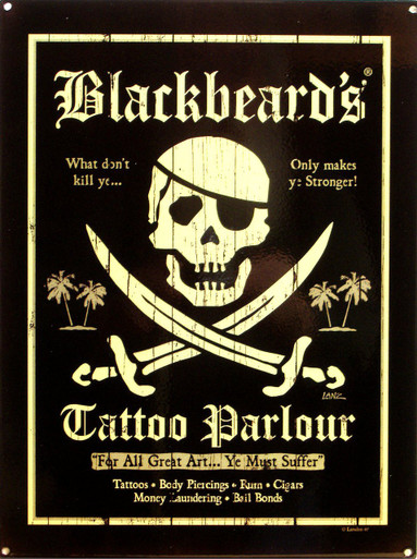 RICH DARK COLORS, OLD TIME LOOK WITH GREAT DETAILS, SKULL AND CROSS SWORDS MAKE THIS A SHARP SIGN FOR ANY PIRATES COLLECTION OR TATTO ENTHUSIAST