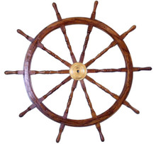 """60"""" SOLID WOOD AND BRASS SHIPS WHEEL 60"""" X 60"""" X 3"""" BEAUTIFULL CRAFTSMANSHIP"""