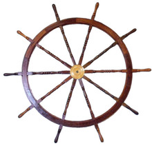 """72"""" WOOD AND BRASS SHIPS WHEEL BEAUTIFULLY HANDCRAFTED ITEM"""