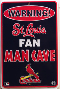 "ST. LOUIS CARDINALS MAN CAVE SIGN SMALL METAL SIGN APOX 8"" X 12"" WITH HOLE(S) FOR EASY MOUNTING"