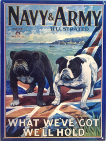 BULL DOGS ON BRITISH FLAG NAVY & ARMY SIGN, ENAMEL FINISH ON HEAVY METAL RICH COLOR AND SHARP DETAILS