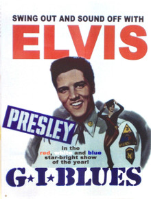 GREAT ENAMEL ELVIS SIGN FROM THE MOVIE POSTER G.I. BLUES GREAT COLORS AND DETAILS ON THIS SIGN.
