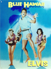 "FROM THE MOVIE POSTER ""BLUE HAWAII, THIS ENAMEL SIGN HAS GREAT COLOR AND DETAIL"