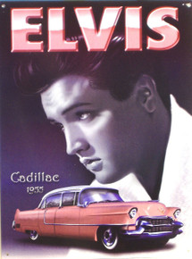 "GREAT PICTURE OF ELVIS WITH THE FAMOUS ""PINK CADILLAC THIS ENAMEL SIGN HAS GREAT ATTENTION TO DETAIL AND COLOR"