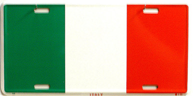 "ITALY,COLORFUL FLAG, METAL LICENSE PLATE 12"" X 6""  WITH HOLES SLOTS CUT FOR EASY MOUNTING"