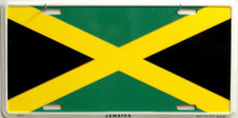 "JAMAICA COLORFUL FLAG, METAL LICENSE PLATE 12"" X 6""  WITH HOLES SLOTS CUT FOR EASY MOUNTING"