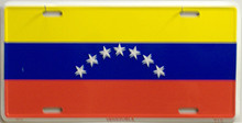"""VENEZULA COLORFUL FLAG, METAL LICENSE PLATE 12"""" X 6""""  WITH HOLES SLOTS CUT FOR EASY MOUNTING"""