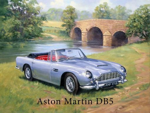 Aston Martin DB5 James Bond Small Metal Tin Sign Classic Sports Car Picture