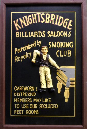 Photo of BILLIARDS SALOON 3-D WOOD SIGN HAS GREAT GRAPHICS BUT VERY LIMITED QUANTITIES