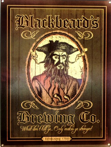 BLACK BEARDS BREWING CO. THIS ENAMEL SIGN SPORTS RICH DARK COLORS AND GRAPHICS BEFITING BLACKBEARD HIMSELF..