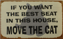 """THIS VINTAGE, HUMOROUS TIN SIGN MEASURES 12 1/2"""" W X 8"""" H AND HAS HOLES IN EACH CORNER"""