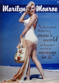 """THIS  COLORFUL VINTGE MARILYN MONROE SIGN MEASURES APOX. 12"""" W X 16 1/2"""" H WITH HOLES IN EACH CORNER FOR EASY MOUNTING WE UNDERSTAND IT WAS TAKEN AT JONES BEACH, NY"""