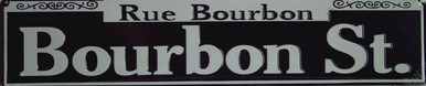 """BLACK AND WHITE BOURBON STREET, STREET SIGN MEASURES 24"""" W X 5"""" H AND HAS HOLES FOR EASY MOUNTING"""