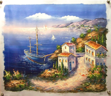 Photo of BLUE BOAT BY VILLA MEDIUM SIZED OIL PAINTING