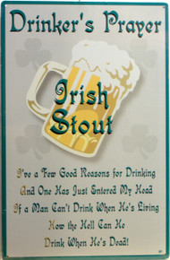GREAT VINTAGE IRISH DRINKERS PRAYER TIN SIGN
