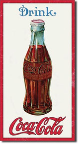 """THIS VINTAGE 1915 COKE BOTTLE SIGN MEASURES 8 1/2"""" W X 16"""" H  IT HAS HOLES IN EACH CORNER FOR EASY MOUNTING"""