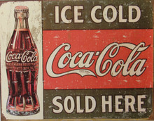 """THIS RUSTIC LOOKING VINTAGE COCA-COLA SIGN MEASURES 16"""" W X 12 1/2"""" H  AND HAS HOLES IN EACH CORNER FOR EASY MOUNTING  IT HAS GENUINE SIMULATED RUST TO MAKE IT LOOK OLDER  THE ORIGINAL DATES BACK TO c. 1916"""