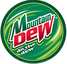 "ROUND RETRO MOUNTAIN DEW SIGN WITH HOLES FOR EASY MOUNTING MEASURES 12"" DIAMETER"