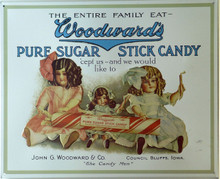 WOODWARD STICK CANDY VINTAGE TIN SIGN, THIS SIGN IS OUT OF PRINT WE HAVE ONLY ONE LEFT