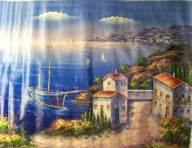Photo of BLUE BOAT BY VILLA LARGE SIZED OIL PAINTING