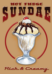 """GREAT RETRO TIN ICE CREAM SIGN MEASURES 12 1/2"""" W X 16"""" H  AND HAS HOLES IN EACH CORNER FOR EASY MOUNTING"""