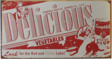 """GREAT CAMPBELLS DELICIOUS VINTAGE SOUP LABLE TIN SIGN MEASURES 16"""" W X 10"""" H AND HAS HOLES IN EACH CORNER FOR EASY MOUNTING  THIS SIGN IS OUT OF PRINT, WE HAVE TWO   LEFT"""