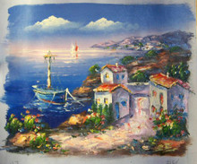 Photo of BLUE BOAT BY VILLA small SIZE OIL PAINTING