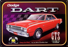 "RED DODGE DART GTS VINTAGE TIN SIGN MEASURES 16 14"" W X 11 3/4"" H WITH HOLES IN EACH CORNER FOR EASY MOUNTING"