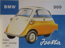"Photo of BMW ""ISETTA"" 3 WHEELED CAR SIGN, USED IN THE PETER SELLERS MOVIE ""THE PARTY"""