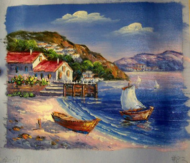 Photo of BOAT ON BEACH ONE SAILING OIL PAINTING