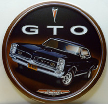 "12"" DIAMETER VINTAGE GTO SIGN HAS GREAT GRAPHICS & COLOR"