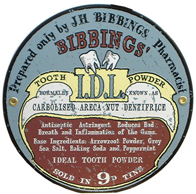 """OLD FASHION VINTAGE PORCELAIN SIGN FROM THE DAYS BEFORE FEDERALY REGULATED MEDICINES.  THIS SIGN IS 9"""" IN DIAMETER AND HAS HOLES @ 3 & 9 FOR EASY MOUNTING"""
