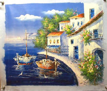Photo of BOATS BY VILLA MEDIUM SIZED OIL PAINTING