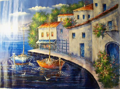 Photo of BOATS BY VILLA LARGE SIZED OIL PAINTING