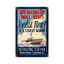 COAST GUARD SMALL BOAT OWNERS ENLIST  (Sublimation Process)  Metal Sign