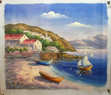 Photo of BOATS ON BEACH, ONE SAILING OIL PAINTING