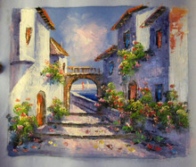 Photo of BOATS THRU ARCHWAY LARGE SIZED OIL PAINTING