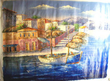 Photo of BOATS WITH FLOWERS BY TOWN OIL PAINTING