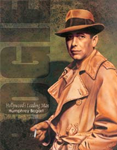 Photo of BOGART SMOKING IN TRENCHCOAT SIGN BOGEY AT HIS BEST WITH DEEP RICH COLORS AND FINE DETAIL