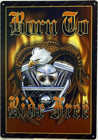 Photo of BORN TO RIDE MOTORCYCLE SIGN WITH RICH COLOR AND GREAT DETAILS