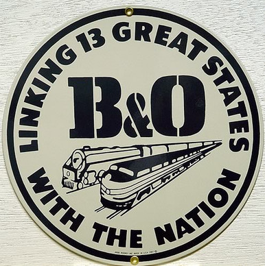 Photo of B & O RR PORCELAIN TRAIN SIGN CRISP COLOR AND GREAT RAILROAD DETAIL