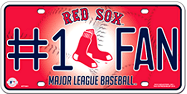 Photo of BOSTON RED SOX BASEBALL # 1 FAN LICENSE PLATE