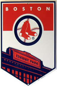 Photo of BOSTON RED SOX BASEBALL, FENWAY PARK HOME PLATE SHAPED SIGN GREAT CONTRAST AND COLOR
