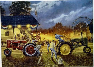 Photo of BRAGGING RIGHTS METAL TRACTOR PULL AT THE COUNTY FAIR SIGN AS JOHN DEERE PULLS AGAINST FARMALL SIGN