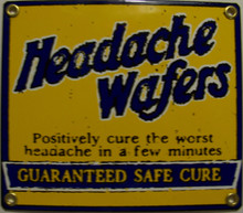 "THIS OLD FASHION SIGN MEASURES 7"" X 6"" AND IS A PROCELAIN SIGN ON HEAVY METAL, IT HAS HOLES IN EACH CORNER FOR EASY MOUNTING.  GOING BACK TO THE DAYS OF MIRACLE CURES."