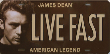 "JAMES DEAN LICENSE PLATE ""LIVE FAST""  WITH SLOT FOR EASY MOUNTING, MEASURES 12"" X 6"""