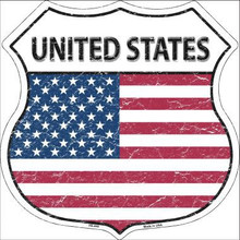 "COUNTRY FLAG HIGHWAY SHIELD, CRACKLE PAINT,  FLAT ALUMINUM METAL SIGN  12"" X 12"" COLLECT EACH COUNTRY YOU LIKE OR HAVE VISITED! If you are ordering from outside the U.S. consider  asking your friends to order signs also, it is less expensive for extra signs than for the first sign, split the shipping cost, it makes ordering more affordable. Actually, the same is true for Domestic shipping as well."