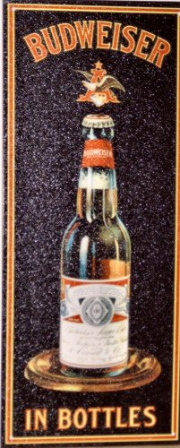 Photo of BUD BOTTLE WITH THE LOGO ON TOP IS A RECTANGULAR SIGN WITH RICH COLOR